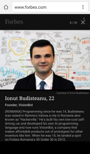 Ionut Alexandru Budisteanu Forbes 30 under 30 Europe
